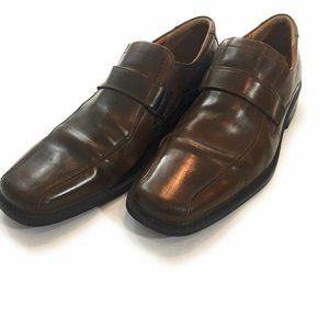ecco Men's Brown Leather Slip On Squared Toe Shoes